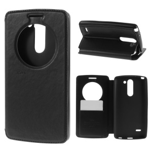ROAR KOREA Noble View Window Flip Leather Stand Case for LG G3 Stylus D690N D690 - Black