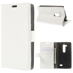 Litchi Skin Wallet Leather Stand Cover for LG L Fino D295 Dual SIM - White