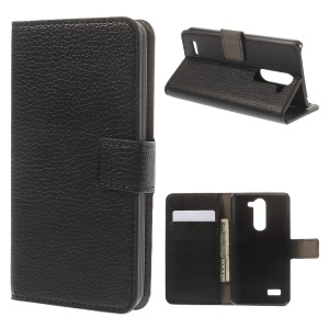 For LG L Bello D331 D335 Lychee Skin Leather Wallet Cover w/ Stand - Black