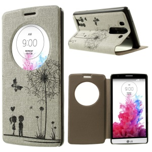 For LG G3 S D722 D725 Sweet Couple & Butterfly Window View Leather Stand Case w/ Perfume Smell