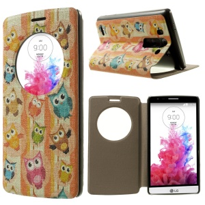 For LG G3 S D722 D725 Multiple Owls Window View Leather Case w/ Perfume Smell & Stand