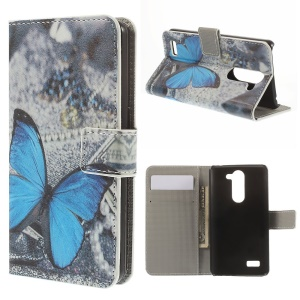 For LG L Bello D331 D335 Wallet Stand Leather Protective Shell - Blue Butterfly