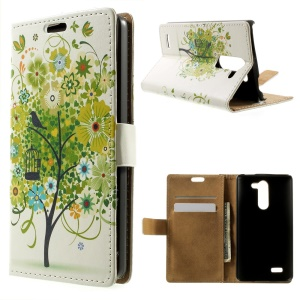 Green Flower Tree for LG L Bello D331 D335 Leather Magnetic Case w/ Card Slots