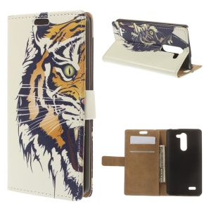 Vivid Angry Tiger Magnetic Flip Leather Cover Case for LG L Bello D331 D335 w/ Wallet Stand