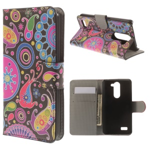 For LG L Bello D335 D331 Paisley Pattern Leather Case Wallet Stand