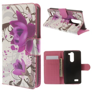 For LG L Bello D335 D331 Purple Flower Folio Leather Stand Cover