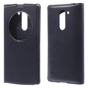 For LG L Bello D331 D335 Circle Window Leather Flip Battery Housing Case - Dark Blue