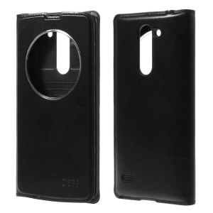 For LG L Bello D331 D335 Circle Window Leather Flip Battery Housing Cover - Black