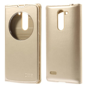 For LG L Bello D331 D335 Circle Window Leather Flip Battery Housing - Champagne