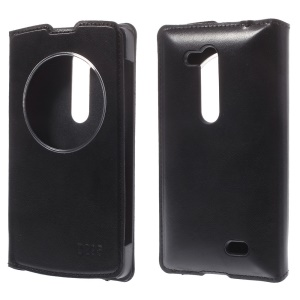 Window View Leather Case for LG L Fino D295 Dual SIM - Black