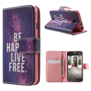 For LG L70 D320 D320N Leather Case Card Holder - Be Happy Live Free