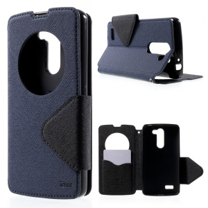 ROAR KOREA for LG L Bello D331 D335 Diary View Window Leather Stand Cover - Dark Blue