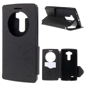 ROAR KOREA Diary Leather Case for LG G Flex2 H955 LS996 H950 with View Window - Black