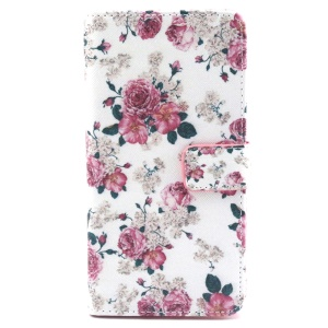 Rose Flowers Wallet Leather Stand Cover for LG G4