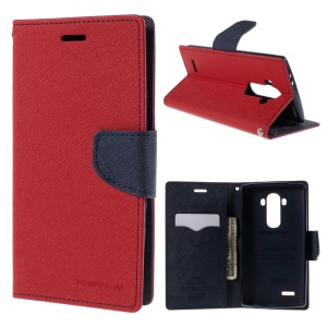 MERCURY GOOSPERY Leather Card Slots Shell for LG G4 with Stand - Red