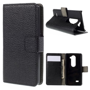 Lychee Leather Phone Case with Card Holder for LG Leon H320 C40 - Black