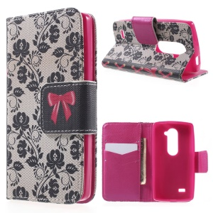 Flower and Bowknot Flip Wallet Leather Case for LG Leon 4G LTE H340N