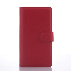 Litchi Skin Leather Stand Case for LG Magna H502F H500F with Card Slots - Red