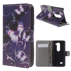 Beautiful Butterfly Flip Wallet Leather Cover Shell for LG Leon H320 C40
