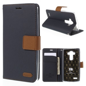 ROAR KOREA Twill Leather Stand Shell Cover for LG G4 - Black