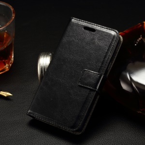 Stitching Wallet Leather Case for LG Joy H220 with Stand - Black