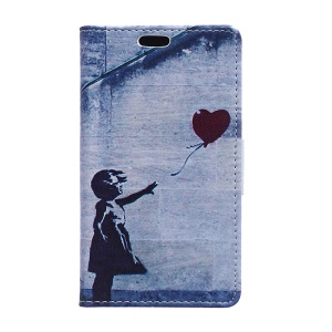 Wallet Leather Phone Case for LG Joy H220 - Girl Releasing Heart Balloon