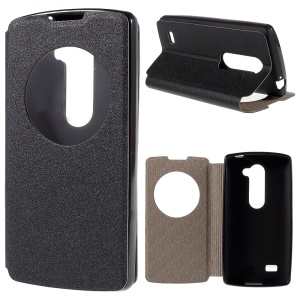 View Window Leather Stand Cover for LG Leon 4G LTE H340N - Black