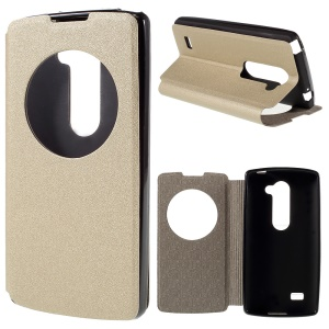 View Window Leather Stand Case for LG Leon 4G LTE H340N - Champagne