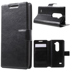 Leather Stand Cover for LG Leon H320 / Leon 4G LTE H340N - Black
