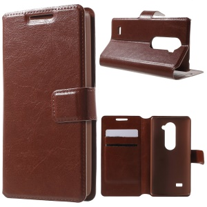 Leather Stand Case for LG Leon H320 / Leon 4G LTE H340N - Brown