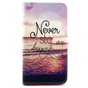 Folio Leather Phone Case Card Holder for LG G3 Stylus D690 - Never Stop Dreaming