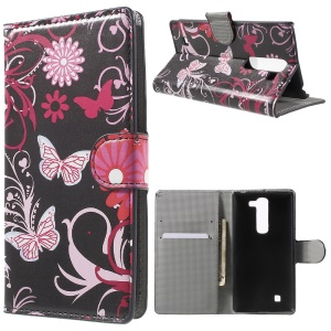 Wallet Leather Stand Case Cover for LG G4c H525N / Magna H502F H500F / Volt 2 LS751 - Butterfly Flowers
