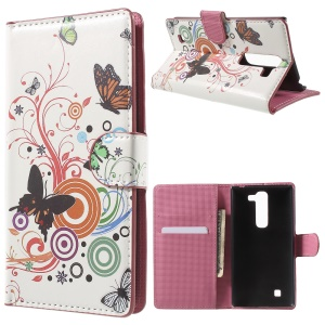 PU Leather Wallet Case for LG G4c H525N / Magna H502F H500F / Volt 2 LS751 - Butterfly Circles