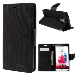 MERCURY GOOSPERY Canvas Leather Stand Case for LG G3 D850 D855 LS990 - Black