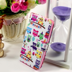 Callfree Wallet Leather Cover Accessory for LG Leon H320 / Leon 4G LTE H340N - Cartoon Owls