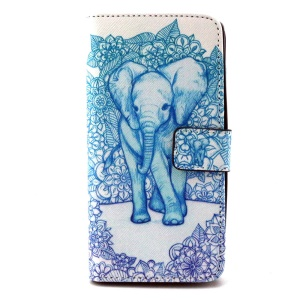 Leather Wallet Case Cover for LG Magna H502F H500F / G4c H525N - Elephant and Flower