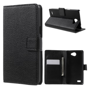 Litchi Grain Leather Case with Wallet Stand for LG Bello II / Prime II / Max - Black