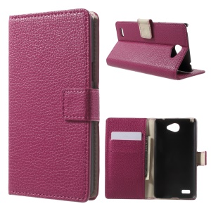 Litchi Grain Leather Cover with Wallet Slots for LG Bello II / Prime II / Max - Rose