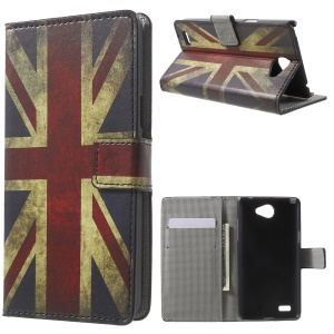 Wallet Leather Card Holder Phone Cover Case for LG Bello II / Prime II / Max - Vintage UK Flag