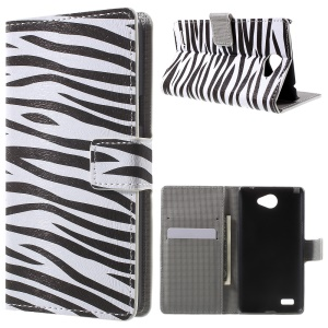 Magnetic Wallet Leather Stand Shell Cover for LG Bello II / Prime II / Max - Zebra Stripe