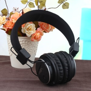 NIA-8809S Foldable Over-ear Headphone Support TF Card/FM/Microphone for Smartphone Computer - Black