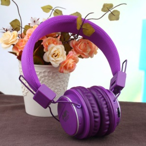 NIA-8809S Foldable Over-ear Headphone Support TF Card/FM/Microphone for Smartphone Computer - Purple