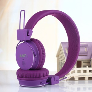 NIA-1682 Foldable Over-ear Headphone Built-in MP3 Player FM Stereo Radio - Purple