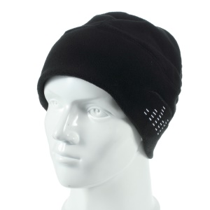 Polar Fleece Warm Winter Hat with 3.5mm Earphone Headset - Black