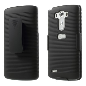 Horizontal Strip Belt Clip Plastic Holster Case for LG G3 D850 D851 D855 - Black