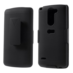 Rubberized Stripes Holster Hard Stand Case with Belt Clip for LG G3 Stylus D690 D690N