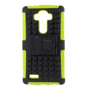 Anti-slip Grid Pattern PC + TPU Hybrid Shell Case for LG G4 with Kickstand - Green