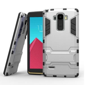 Three Pieces PC + TPU Hybrid Case for LG G4 Note with Kickstand - Silver