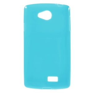 Solid Color Glossy TPU Case Cover for LG F60 D390N - Blue