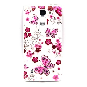 Embossed Gel TPU Case for LG Magna H502F H500F - Peach Flowers and Butterflies